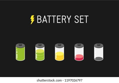 Vector battery illustration. Set of five different icons. From full to empty.