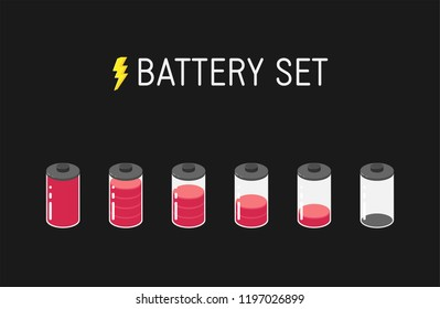 Vector battery illustration. Set of six red icons. From full to empty.