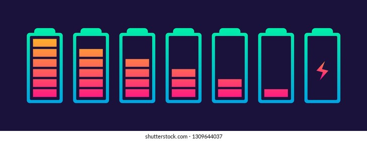 Vector battery symbol set different level of charge for ui energy symbol mobile phone, battery charge signs. Car battery indicator. Accumulator battery, wireless charging energy icons. 10 eps