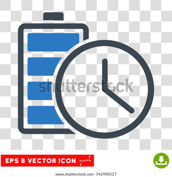 Vector Battery Time EPS vector icon. Illustration style is flat iconic bicolor smooth blue symbol on a transparent background.