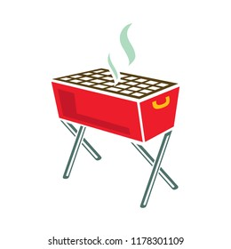 vector bbq grill illustration - food party icon, outdoor picnic barbecue sign