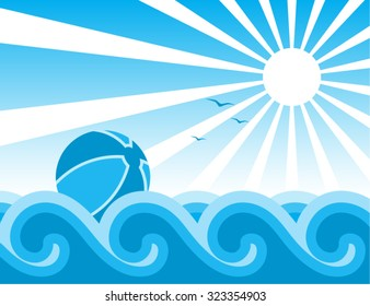 vector beach ball floating on the waves