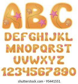 vector beach font with digits