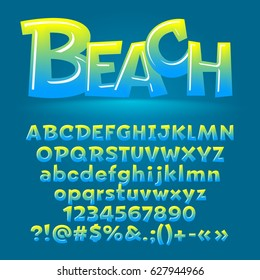 Vector beach glossy letters, number, symbols. Contains graphic style