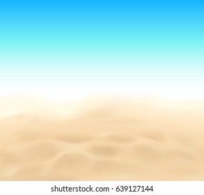 Vector beach sand texture and blue sky background