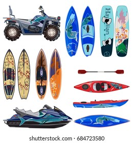 Vector beach sport equipment icons set. Water scooter, quad bike, two sides of surfing boards and wakeboard, kayak with paddle, isolated on white background. Flat style design.