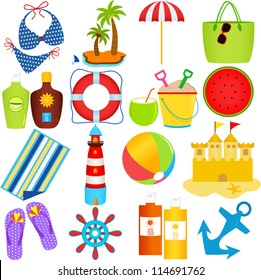 Vector of  beach in the Summer Theme, swim suit, island, umbrella, coconut, sand castle, lighthouse, sunblock. A set of cute and colorful icon collection isolated on white background