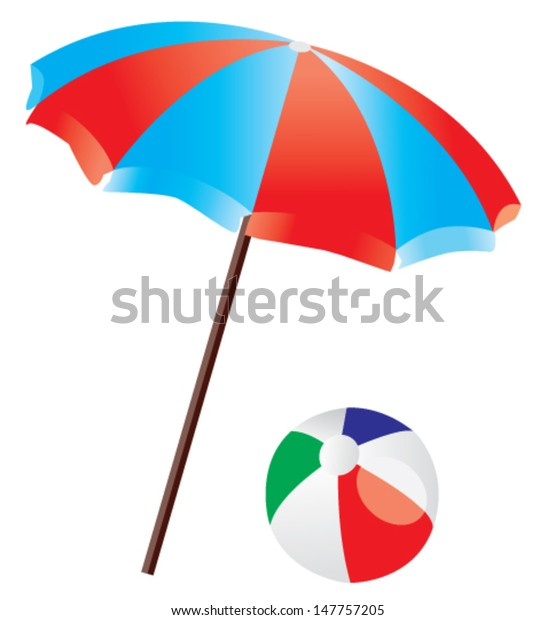 d4f861f1be Vector Beach Umbrella Beach Ball Isolated Stock Vector (Royalty Free ...