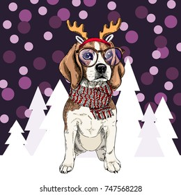 Vector beagle dog wearing reindeer antlers tiara, glasses and scarf. Isolated on snowy trees and sparklers. Sketched color illustration. Christmas, Xmas, New year. Party decoration, greeting card.