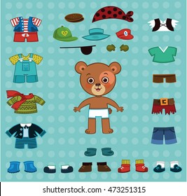 Vector bear boy with his costumes.For dress up, paper doll games.