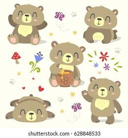 vector bear cartoon spring summer set