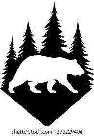 Vector bear in the forest negative badge shape logo. Park outdoor hiking nature wildlife grizzly