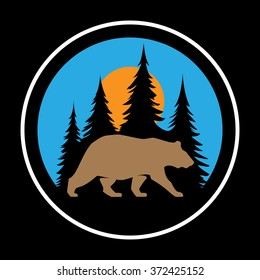 Vector bear in forest wildlife outdoor nature park at the daylight under the sun. Badge shape illustration.