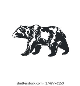 Vector Bear illustration, Monochrome print, Black animal eps, Wildlife image, Vintage logo, Graphic concept, Winter symbol, Nature design, Zoo art, Predator artwork