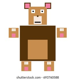 Vector bear are made of squares and rectangles