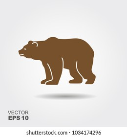 Vector bear silhouette. Flat icon with shadow