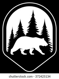 Vector bear silhouette in forest wildlife outdoor nature park. Badge shape illustration