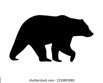 Vector bear silhouette isolated on white. Black shape of bear.