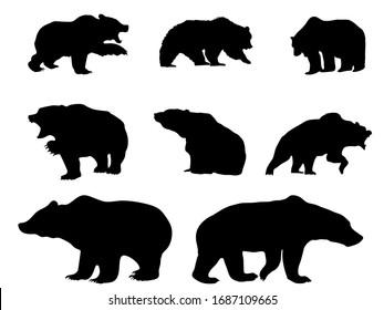 Vector bear silhouette, symbol stock market downturn on transparent background