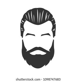 Vector of bearded man face, with mustache, pompadour