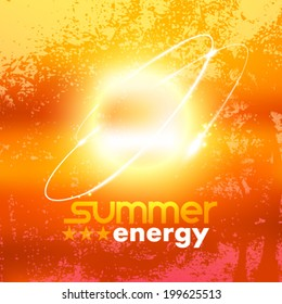 Vector beautiful abstract grunge sunset view, summer energy concept, background illustration