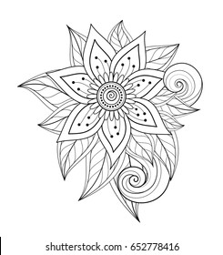 Vector Beautiful Abstract Monochrome Floral Composition with Flowers, Leaves and Swirls. Design Element in Doodle Style Coloring Book Page