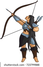 Vector beautiful archer with longbow.