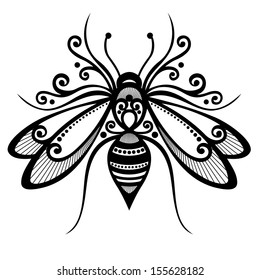 Vector Beautiful Bee, Exotic Insect. Patterned design, Tattoo