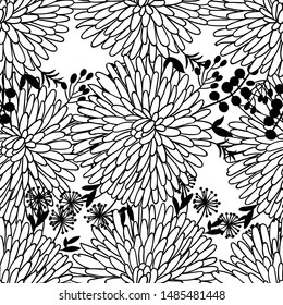 Vector beautiful black and white color floral seamless  pattern. Roses, poppies and peonies flowers.