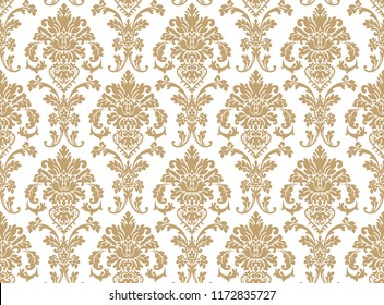 Vector beautiful damask pattern. Royal pattern with floral ornament. Seamless wallpaper with a damask pattern. Vector illustration.