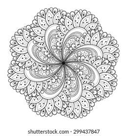 Vector Beautiful Deco Black Mandala, Patterned Design Element, Ethnic Amulet