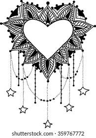 Vector Beautiful Deco Heart  Black Mandala, Patterned Design Element, Ethnic Amulet