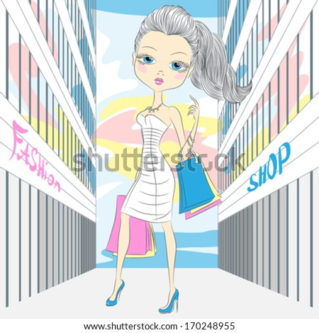 Vector beautiful fashion girl in white dress with packages shopping