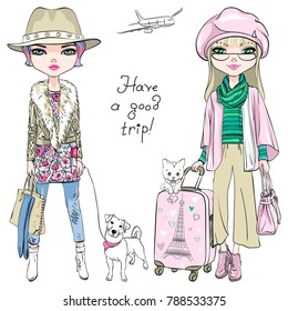 Vector beautiful fashion girls in winter clothes with suitcases, cute dog and cat travel the world on airplanes