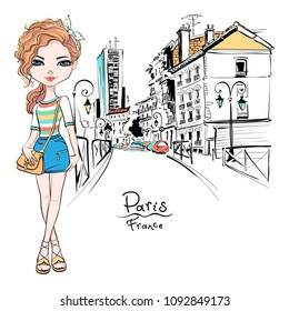 Vector beautiful fashion hipster girl in summer clothes, t-shirt and skirt with bag on Paris street, France
