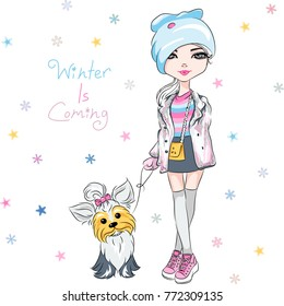 Vector beautiful fashion hipster girl in winter clothes, sneakers, jacket and skirt with cute dog Yorkshire terrier