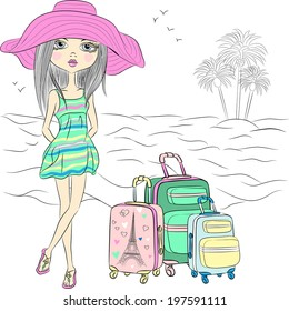 Vector Beautiful fashion traveler girl with suitcases on sea beach