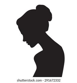 Vector beautiful female face silhouette in profile