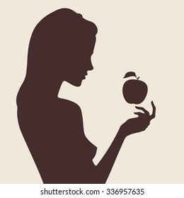 Vector beautiful female silhouette in profile. Snow White and apple