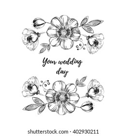 Vector beautiful frame with sketch flowers and leaves on white, for invitations and card.