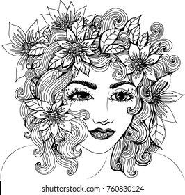 Vector beautiful girl with curly hair and flowers in her hair, fashion sketch. Ideal for coloring