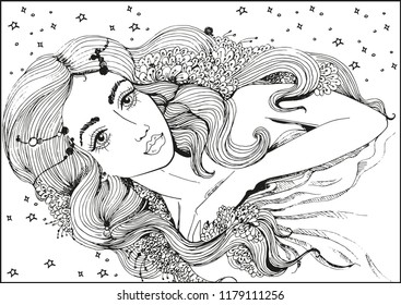Vector beautiful girl face in flowers for coloring books.