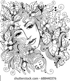 Vector beautiful girl face in flowers for coloring books