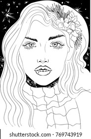 Vector beautiful girl, fashion sketch. Ideal for coloring