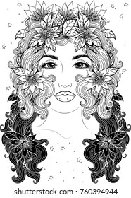 Vector beautiful girl with long curly hair and flowers in her hair, fashionable sketch. Ideal for coloring