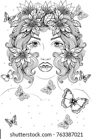 Vector beautiful girl with long curly hair and flowers in her hair, with flying butterflies, fashion sketch. Ideal for coloring.