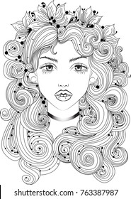 Vector beautiful girl with long curly hair and flowers in her hair, fashion sketch. Ideal for coloring