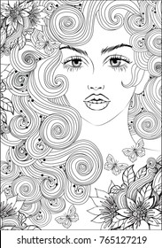 Vector beautiful girl with long curly hair and beads in her hair, fashion sketch. Ideal for coloring