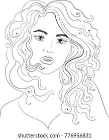 Vector beautiful girl with long curly hair, fashion sketch. Ideal for coloring
