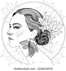 vector of a beautiful girl in profile, with maple leaves in her hair, and beautiful maple earrings